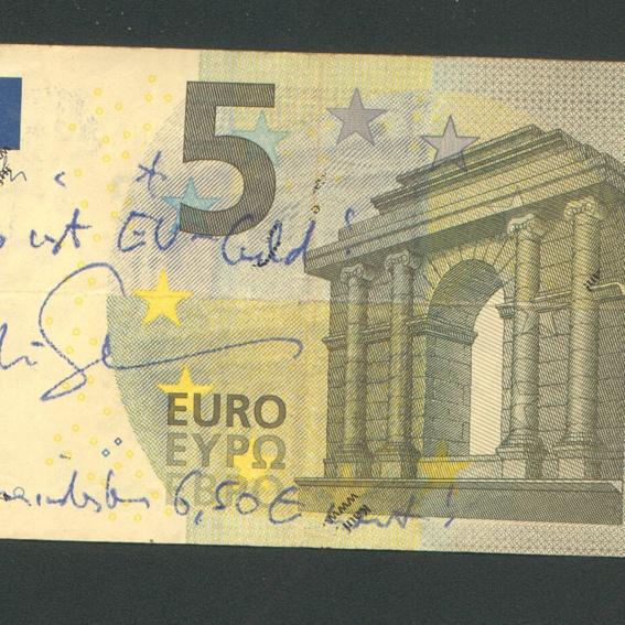 EU Geld: 5,-€ von Martin Sonneborn (Die PARTEI, Titanic) handsigniert