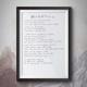 Handgeschriebener Songtext im Bilderrahmen