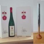 1 Flasche Silbermann-Wein-Edition und ein Orgelpfeife