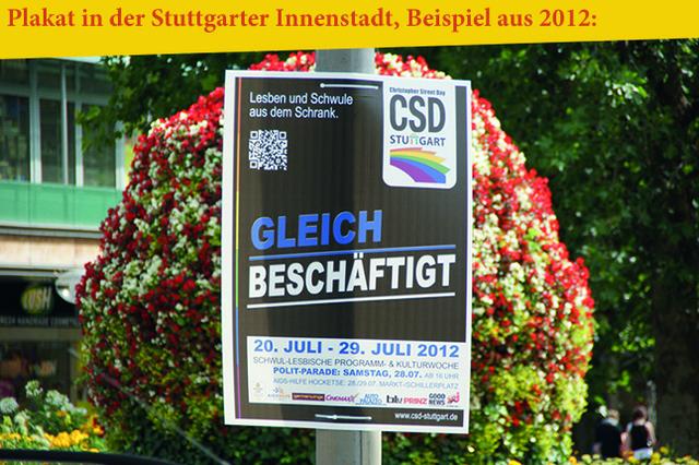 Plakatkampagne zum Christopher Street Day (CSD) in Stuttgart