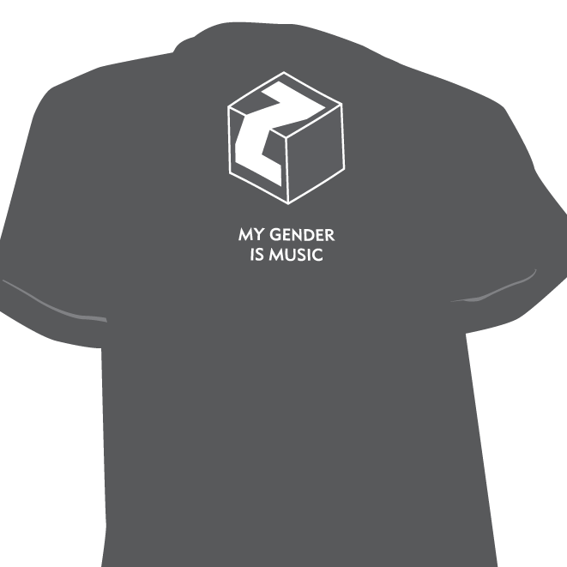 T-Shirt mit Zuckerwürfel + my gender is music (Siebdruck)