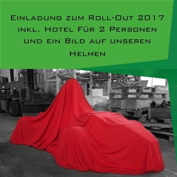 Roll-Out-Einladung inkl. Hotelübernachtung für 2 Personen + Bild auf Helm