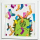 "3D-Wandbild ""Fello im Sockenregen"" 25 cm x 25 cm"