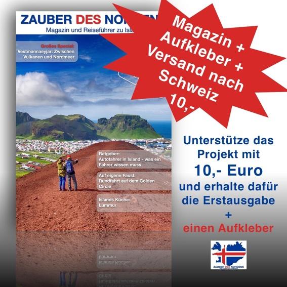 Für die Schweiz: Magazin + Aufkleber + Versand in die Schweiz