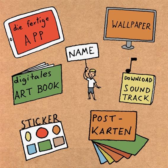 ABENTEURER: Die App, digitales Wallpaper und Artbook, Bronze-Backer Nennung, Soundtrack zum Download, eine Sticker-Kollektion und ein 6er Postkartenset.