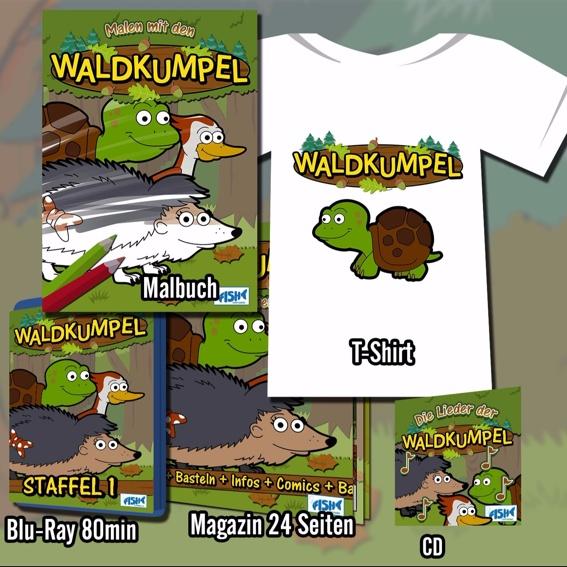 Malbuch, CD, T-Shirt, Blu-Ray und Magazin