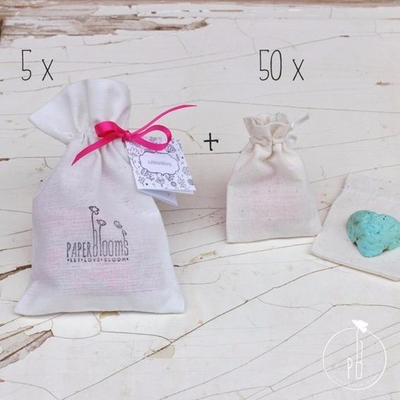 5 x Seedbombs + 50 Baumwollsäckchen (Hochzeitsset für 50 Gäste)