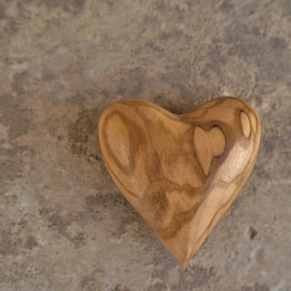 Heart made of olive wood