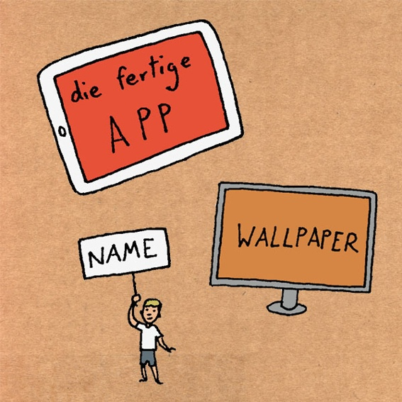 EINSTEIGER: Die App, digitales Wallpaper und Name in den Credits.