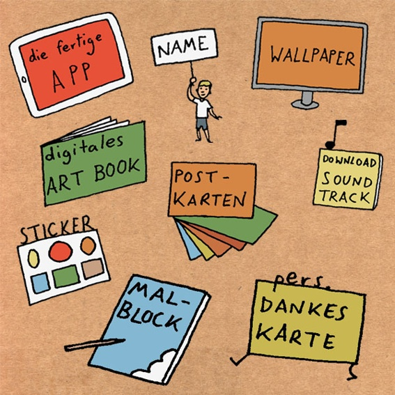 KRITZLER: Die App, digitales Wallpaper und Artbook, Bronze-Backer Nennung, Soundtrack zum Download, Sticker, 6er Postkartenset, einen Kritzelblock und eine persönliche Dankeskarte.